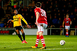 Jamille Matt of Newport County scores his sides second goal of the game  - Mandatory by-line: Ryan Hiscott/JMP - 11/12/2018 - FOOTBALL - Rodney Parade - Newport, Wales - Newport County v Wrexham - Emirates FA Cup second round proper