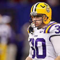 Jan 9, 2012; New Orleans, LA, USA; LSU Tigers kicker Drew Alleman (30) before the 2012 BCS National Championship game against the Alabama Crimson Tide at the Mercedes-Benz Superdome.  Mandatory Credit: Derick E. Hingle-US PRESSWIRE