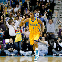 January 22, 2011; New Orleans, LA, USA; New Orleans Hornets small forward Trevor Ariza (1) celebrates after hitting a three point basket during the third quarter against the San Antonio Spurs at the New Orleans Arena. The Hornets defeated the Spurs 96-72.  Mandatory Credit: Derick E. Hingle
