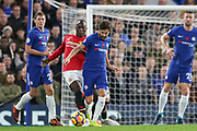 Chelsea's Cesc Fabregas battles with \Manchester United Defender Eric Bailly during the Premier League match between Chelsea and Manchester United at Stamford Bridge, London, England on 5 November 2017. Photo by Phil Duncan.