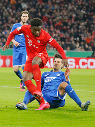 05.02.2020, Allianz Arena, Muenchen, GER, DFB Pokal, FC Bayern Muenchen vs TSG 1899 Hoffenheim, Achtelfinale, im Bild Alphonso Davies gegen Andrej Kramaric // during the German Pokal the round of last sixteen match between FC Bayern Muenchen and TSG 1899 Hoffenheim at the Allianz Arena in Muenchen, Germany on 2020/02/05. EXPA Pictures © 2020, PhotoCredit: EXPA/ SM<br /> <br /> *****ATTENTION - OUT of GER*****