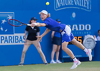 Tennis - 2017 Aegon Championships [Queen's Club Championship] - Day Three, Wednesday<br /> <br /> Men's Singles: Round of 16 _ Tomas Berdych (CZE) Vs Denis Shapovalov (CAN)<br /> <br /> Denis Shapovalov (CAN) stretches to reach the passing shot at Queens Club<br /> <br /> COLORSPORT/DANIEL BEARHAM