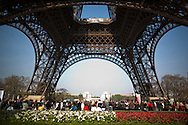 Tourists queue underneath the iconic Eiffel Tower in Paris