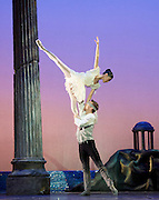 Sylvia<br /> Birmingham Royal Ballet <br /> choreography by David Bentley <br /> at the Birmingham Hippodrome, Birmingham, Great Britain<br /> rehearsal <br /> 23rd June 2015 <br /> <br /> Momoko Hirata as Sylvia<br /> <br /> Joseph Caley as Amynta<br /> <br /> <br /> <br /> <br /> Photograph by Elliott Franks <br /> Image licensed to Elliott Franks Photography Services