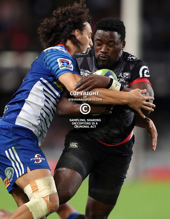 DURBAN, SOUTH AFRICA - MAY 27: Lwazi Mvovo of the Cell C Sharks tackled by Dillyn Leyds of the DHL Stormers during the Super Rugby match between Cell C Sharks and DHL Stormers at Growthpoint Kings Park on May 27, 2017 in Durban, South Africa. (Photo by Steve Haag/Gallo Images)