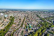 Nederland, Utrecht, Gemeente Utrecht, 30-09-2015; overzicht van de Utrechtse binnenstad vanuit het Zuiden langs de as van de Oudegracht, richting Domtoren. Links Catherijnesingel richting Centraal Station. Rechts Tolsteegsingel en Maliesingel.<br /> Southern part of downtown Utrecht and city centre.<br /> luchtfoto (toeslag op standard tarieven);<br /> aerial photo (additional fee required);<br /> copyright foto/photo Siebe Swart