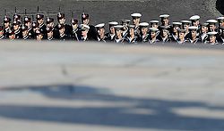 June 2, 2017 - Rome, Lazio, Italy - Italy celebrates the 71st birthday of the Republic. President Mattarella laid a crown in front of the Unknown Soldier to shake off all those who served and serve the state every day. After the crown's surrender, the various representatives of the Italian Armed Forces are shown on Via dei Fori Imperiali. At the end of the parade, the Freccie Tricolori flying over the sky. (Credit Image: © Andrea Franceschini/Pacific Press via ZUMA Wire)