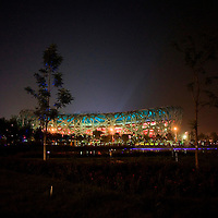 BEIJING, AUGUST 5 : the illuminated National Stadium is seen during dress rehearsals .