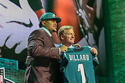 Apr 25, 2019; Nashville, TN, USA; Washington State tackle Andre Dillard poses with NFL commissioner Roger Goodell after being selected as the No. 22 pick of the first round by the Philadelphia Eagles during the 2019 NFL Draft. (Kim Hukari/Image of Sport)