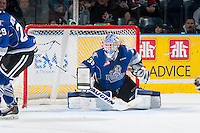 KELOWNA, CANADA - MARCH 11: Coleman Vollrath #35 of Victoria Royals defends the net against the Kelowna Rockets on March 11, 2015 at Prospera Place in Kelowna, British Columbia, Canada.  (Photo by Marissa Baecker/Shoot the Breeze)  *** Local Caption *** Coleman Vollrath;