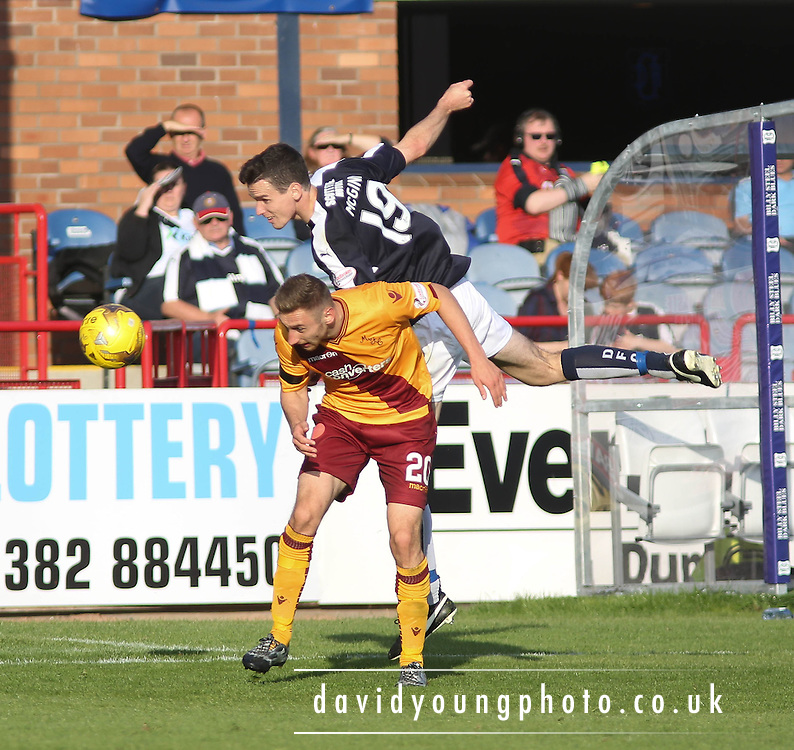 Dundee&rsquo;s Paul McGinn and Motherwell&rsquo;s Louis Moult - Dundee v Motherwell - Ladbrokes Premiership at Dens Park<br />