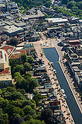 Nederland, Drenthe, Assen, 27-08-2013;<br /> Centrum Assen met winkelstraten en de Vaart ZZ:  de Kop van de Vaart met een Menora. <br /> Center of the village of Assen with shopping streets and Vaart ZZ (canal).<br /> luchtfoto (toeslag op standaard tarieven);<br /> aerial photo (additional fee required);<br /> copyright foto/photo Siebe Swart.