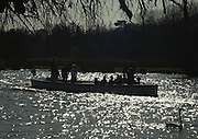 2003 - Rowing - Henley Boat Races (Women's varsity Boat Race).Lightweights second crews postponed race Nephthys and Granta (CUBC) and Umpires' launch Argonant Rowing Courses, Henley Reach Sunrise, Sunsets, Silhouettes