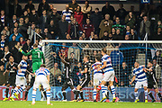 QPR (1) GK  Alex Smithies header in last minute during the EFL Sky Bet Championship match between Queens Park Rangers and Fulham at the Loftus Road Stadium, London, England on 29 September 2017. Photo by Sebastian Frej.