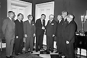 11/09/1962<br /> 09/11/1962<br /> 11 September 1962<br /> Ford International Fellowship Award for Ireland. In the Constitution Room of the Shelbourne Hotel, Dublin, 26 year old Sligo born Mr Patrick Joseph McGowan, M.Econ.Sc., of the Economic Division of the Central Bank of Ireland, who was leaving for the United States on the 13th as the Ford International Fellow for Ireland for 1962, was wished success in his studies by The U.S. Ambassador and members of An Bord Seolaireachtai Comalairte. Picture shows: His Excellency, Mr Matthew McCloskey (4th from right) United States Ambassador to Ireland, congratulating Mr McGowan. Others in the picture are (from left) Mr John A. McKinney, Cultural Affairs Officer, U.S. Embassy; Mr Joseph Sweeney, Deputy Chief of Mission, U.S. Embassy; Mr T.J. Brennan (Managing Director, Henry Ford and Son Ltd., Cork); Prof. E.T.S. Walton, F.T.C.D.; Dr Mairtin O Tnuthail, President U.C.G. and Mr J. Bietz, U.S. Consul, Cork.