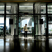 A man stands in an elevator at Incheon International Airport near Seoul, South Korea.