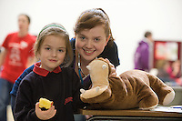 Molly Digan from Bawnmore NS and  Eibhín Higgins Ballinrobe Co. Mayo, Medical Student at NUIGalway  at the Teddy bear Hospital in the University. Photo:Andrew Downes
