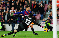 BARCELONA, Jan. 14, 2019  SP)SPAIN-BARCELONA-SOCCER-LA LIGA-BARCELONA VS EIBAR.    Eibar's goalkeeper Asier Riesgo (F) defends against Barcelona's Philippe Coutinho.    during a Spanish league match between FC Barcelona and SD Eibar in Barcelona, Spain, on Jan. 13, 2019. FC Barcelona won 3-0. (Credit Image: © Joan Gosa/Xinhua via ZUMA Wire)