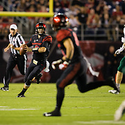 22 September 2018: The San Diego State Aztecs lead the Eastern Michigan Eagles 17-10 at the half at SDCCU Stadium in San Diego, California.
