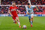 Middlesbrough midfielder Grant Leadbitter (7) takes on Sunderland midfielder George Honeyman (26)  during the The FA Cup 3rd round match between Middlesbrough and Sunderland at the Riverside Stadium, Middlesbrough, England on 6 January 2018. Photo by Simon Davies.