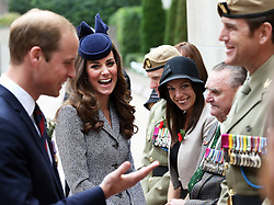 The Duke and Duchess of Cambridge meet veterans at the end of the ANZAC Day March and Commemorative Service at the Australian War Memorial in Canberra, Australia, Friday, 25th April 2014. Picture by Stephen Lock / i-Images