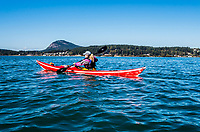 Paddling from Skagit Island to Deception Pass, Washington, USA. Mount Eerie in the background.