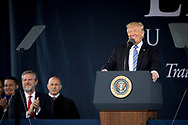 President Donald Trump addresses graduates, families, and guests at Liberty University's 44th Commencement Ceremony on Saturday, May 13, 2017. (Photo by Kevin Manguiob)