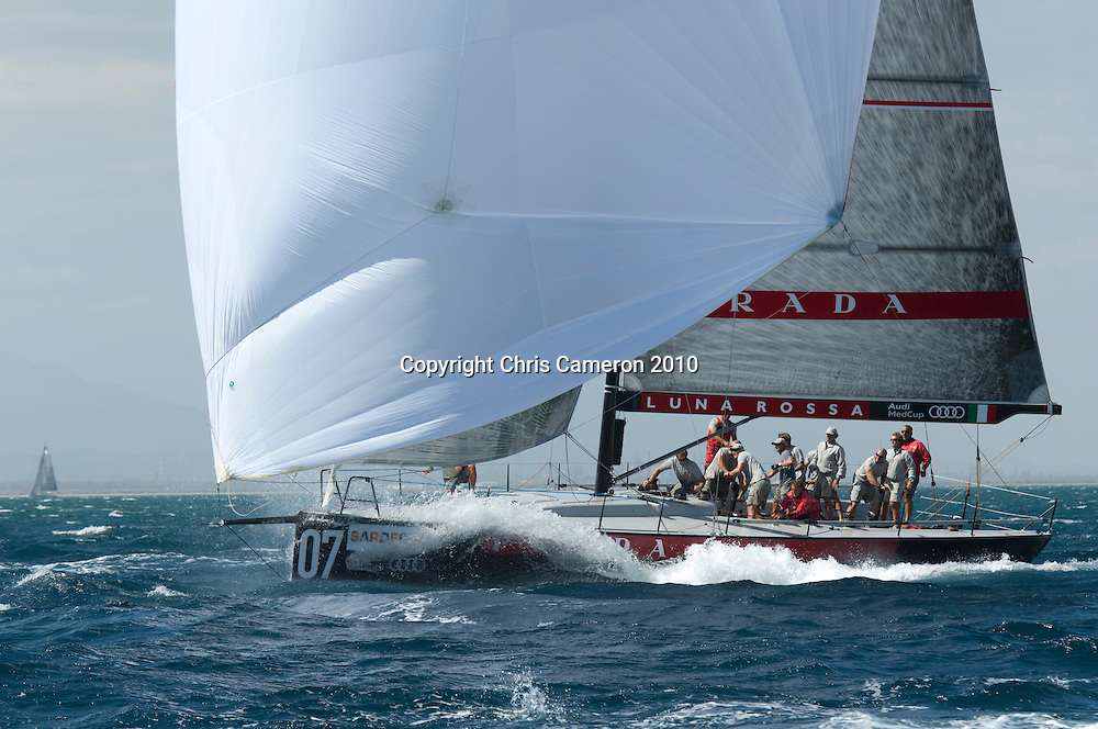 Luna Rossa (ITA) practice races against other Audi MedCup teams before the Trofee of Sardinia regatta. 19/10/2010