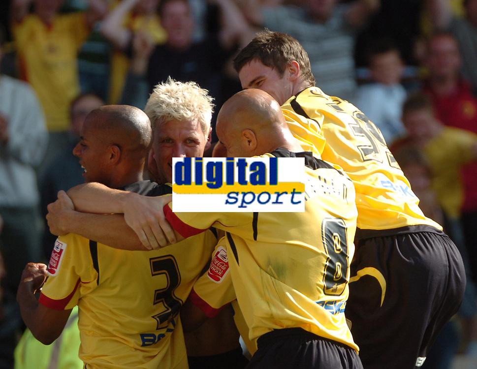 Photo: Tony Oudot.<br /> Watford v Southampton. Coca Cola Championship. 16/09/2007.<br /> Darius Henderson of Watford celebrates after scoring the winning goal