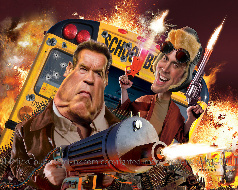 """Lots of shooting and stuff all blow'd up. Caricature: Arnold Schwarzenegger as Ray Owens, Johnny Knoxville as Lewis Dinkum in """"The Last Stand"""".  3D modeling and Photoshop. Originally published for Penthouse Magazine."""