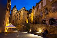 Nightfall in Sarlat-la-Caneda, Perigord, Dordogne, Nouvelle-Aquitaine, France