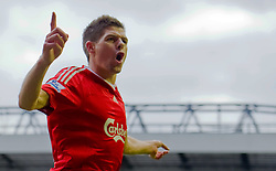 LIVERPOOL, ENGLAND - Monday, March 1, 2010: Liverpool's captain Steven Gerrard MBE celebrates scoring the opening goal against Blackburn Rovers during the FA Premier League match at Anfield. (Photo by Jon Buckle/Propaganda) / for Slovenia SPORTIDA PHOTO AGENCY.