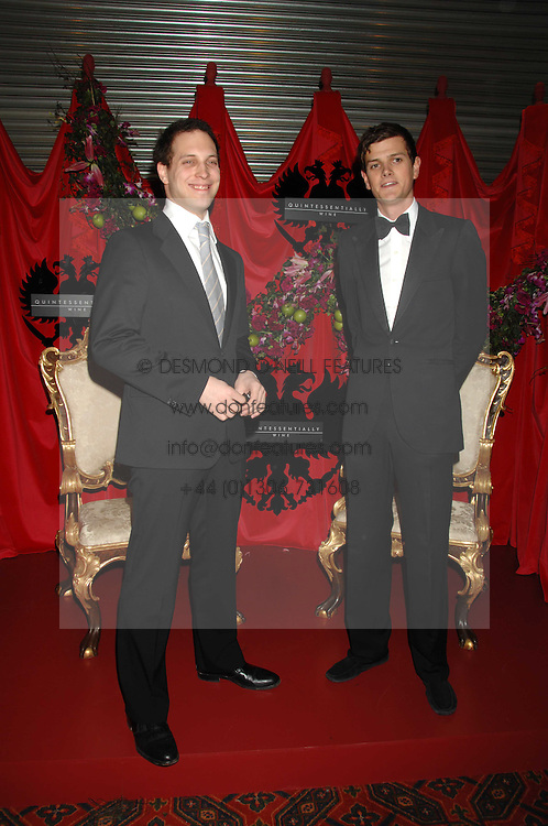 Left to right, LORD FREDDIE WINDSOR and the HON.ALEXANDER SPENCER-CHURCHILL at The Diner Des Tsars in aid of Unicef to celebrate the launch of Quintessentially Wine held at the Guildhall, London EC2 on 29th March 2007.<br />