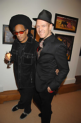 Left to right, DON LETTS and PAUL SIMONON at a private view of Paul Simonon's recent paintings held at Thomas Williams Fine Art, 22 Old Bond Street, London on 15th April 2008.<br />