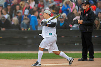 KELOWNA, CANADA - JUNE 28: Retired NHL Player Jordin Tootoo swings from home plate during the opening charity game of the Home Base Slo-Pitch Tournament fundraiser for the Kelowna General Hospital Foundation JoeAnna's House on June 28, 2019 at Elk's Stadium in Kelowna, British Columbia, Canada.  (Photo by Marissa Baecker/Shoot the Breeze)