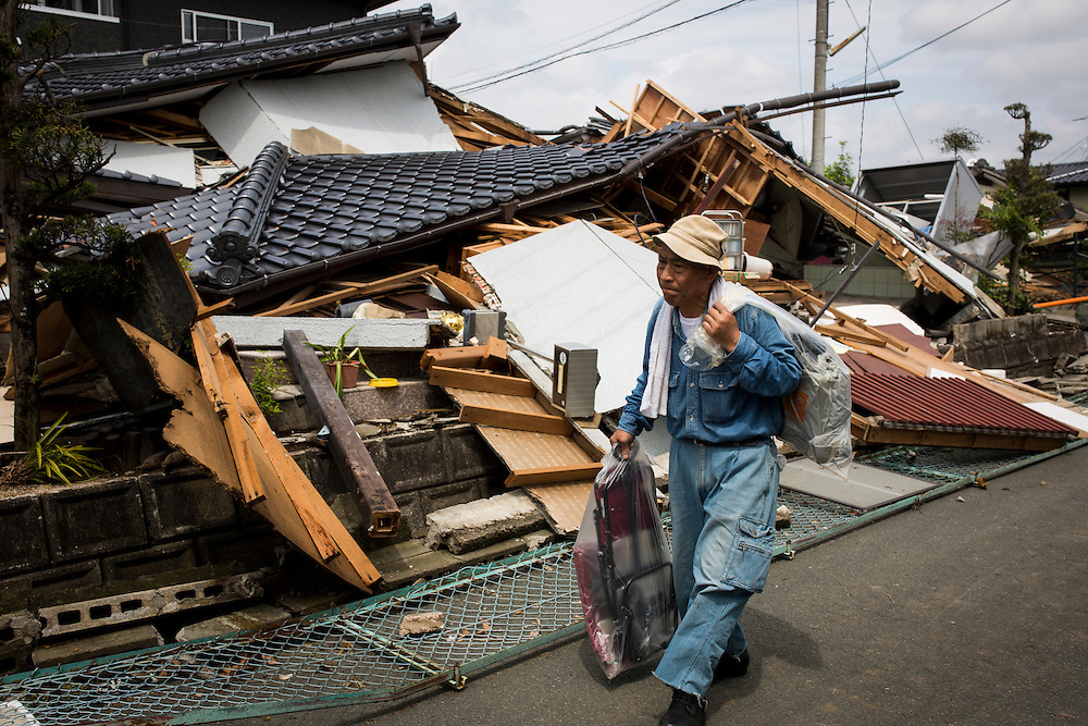 KUMAMOTO, JAPAN - APRIL 22:  <br /> <br /> To date 48 people are confirmed dead and more than 80,000 people have evacuated after an 6.5 earthquake on Thursday night and a stronger 7.3 quake on Saturday morning struck the Kyushu Island in western Japan.<br /> <br /> Photo: Richard Atrero de Guzman