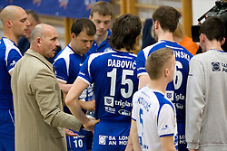 Coach of Salonit Dragutin Suker and Nikola Vidic (10) at final match of Slovenian National Volleyball Championships between ACH Volley Bled and Salonit Anhovo, on April 24, 2010, in Radovljica, Slovenia. ACH Volley defeated Salonit 3rd time in 3 Rounds and became Slovenian National Champion.  (Photo by Vid Ponikvar / Sportida)