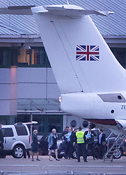 © Licensed to London News Pictures. 11/03/2019. London, UK. Prime Minister Theresa May walks across the tarmac to her plane at RAF Northolt where, it is thought, she will fly to Strasbourg for last minute talks with EU leaders ahead of tomorrow's crucial Brexit withdrawal vote in Parliament. Photo credit: Peter Macdiarmid/LNP