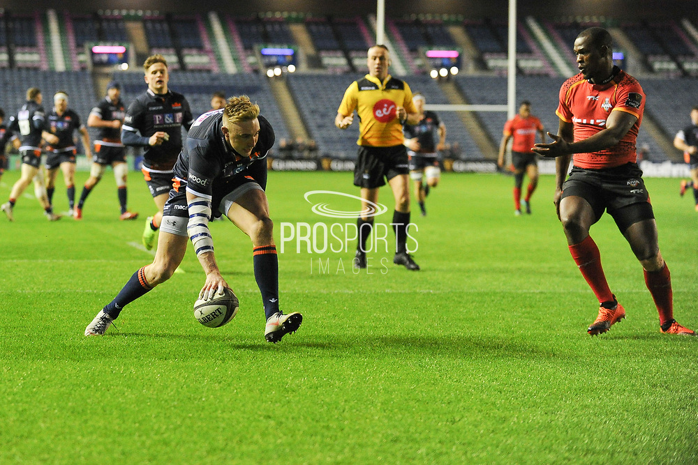 First try of the game for Dougie Fife the Guinness Pro 14 2018_19 match between Edinburgh Rugby and Southern Kings at BT Murrayfield Stadium, Edinburgh, Scotland on 5 January 2019.