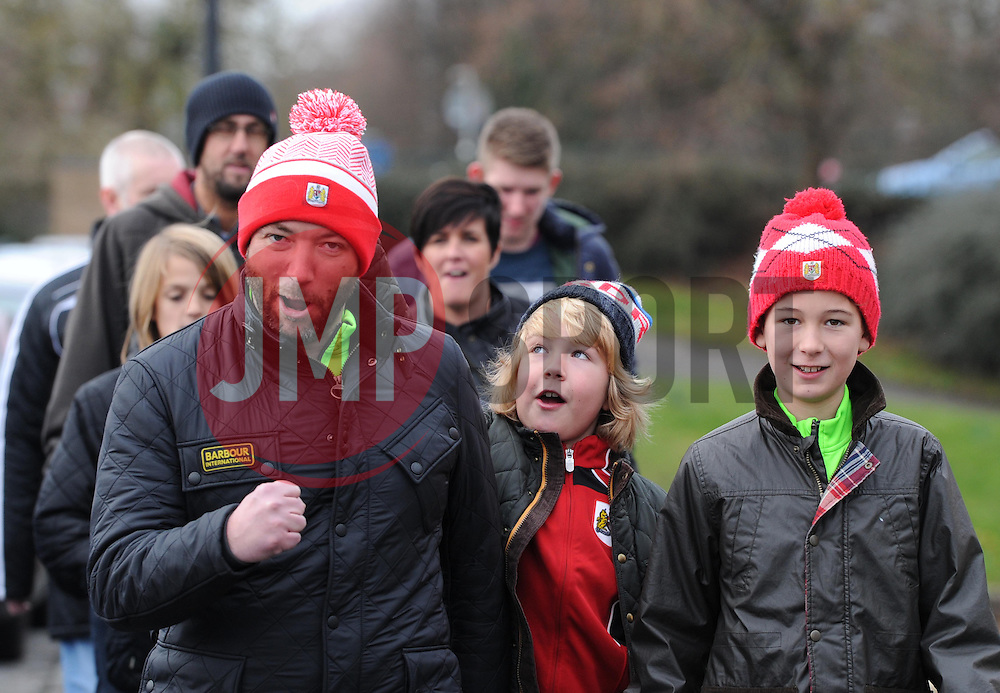 Bristol City supporters on their way to Ashton Gate for  FA Cup fourth round match between Bristol City and West Ham United at Ashton Gate on 25 January 2015 in Bristol, England - Photo mandatory by-line: Paul Knight/JMP - Mobile: 07966 386802 - 25/01/2015 - SPORT - Football - Bristol - Ashton Gate - Bristol City v West Ham United - FA Cup fourth round