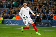 Sevilla defender Sergio Escudero (18) during the Champions League round of 16, game 2 match between Leicester City and Sevilla at the King Power Stadium, Leicester, England on 14 March 2017. Photo by Richard Holmes.
