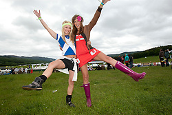 Elaine Lyall & Emily Fleming, fans at Rockness main area..Rockness, Saturday 12th June 2010..Pic ©2010 Michael Schofield. All Rights Reserved.