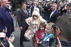 Lady Gaga arrives in Berlin. <br /> 60631191  <br /> Lady Gaga greets fans upon her arrival at the Ritz Carlton Hotel, Berlin, Germany, Wednesday, 23rd October 2013. Picture by  imago / i-Images<br /> UK ONLY
