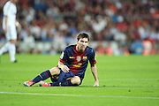 Lionel Messi reacts after missing a chance during the Supercopa 1st leg match at the Nou Camp, Barcelona, Spain between FC Barcelona and Real Madrid on 23rd August 2012.