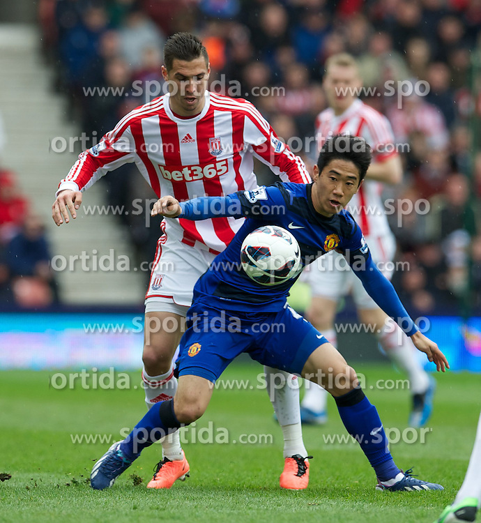 14.04.2013, Britannia Stadion, Stoke on Trent, ENG, Premier League, Stoke City vs Manchester United, 33. Runde, im Bild Manchester United's Shinji Kagawa in action against Stoke City during the English Premier League 33th round match between Stoke City FC and Manchester United at the Britannia Stadium, Stoke on Trent, Great Britain on 2013/04/14. EXPA Pictures © 2013, PhotoCredit: EXPA/ Propagandaphoto/ David Rawcliffe..***** ATTENTION - OUT OF ENG, GBR, UK *****