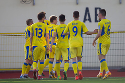 Players of NK Domzale celebrate goal during football match between NK Domzale and NK Celje in Round #20 of Prva liga Telekom Slovenije 2017/18, on April 18, 2018 in Sports Park Domzale, Domzale, Slovenia. Photo by Urban Urbanc / Sportida