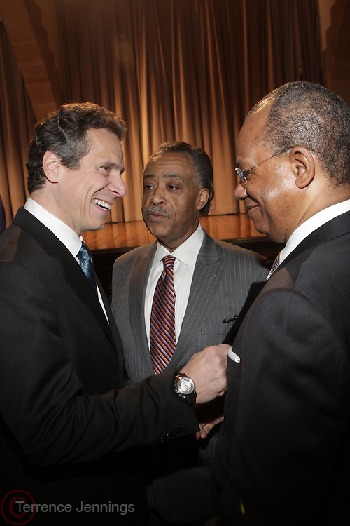 22 April 2010- New York, NY- l to r: New York Attorney General Andrew Cuomo, Rev. Al Sharpton and Rev. Calvin Butts at President Barack Obama's Wall Street Address held at The Cooper Union for the Advancement of Science and Arts on April 22, 2010 in New York City. Terrence Jennings/Retna. Ltd