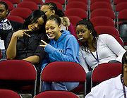 Hampton Lady Pirates (L-R) Ashlee Finley, Stephanie James and Whitney Hill enjoying the Howard - FAMU women's game during the 2008 MEAC Basketball Tournament at the RBC Center in Raleigh, North Carolina.  March 11, 2008  (Photo by Mark W. Sutton)