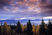 Sunrise over the Yaak Valley from Hensley Hill in fall. Purcell Mountains, Montana
