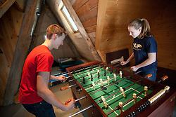 Washington, kids playing foosball.  MR, PR